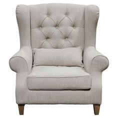 Beech arm chair with tufted upholstery.   Product: ChairConstruction Material: Beech wood, viscose, linen and polyeste...