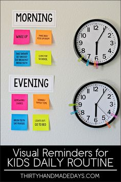 Make your own visual reminders for Kids Daily Routines - perfect for back to school! With Post-It Notes. http://www.thirtyhandmadedays.com /postitproducts/