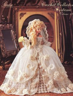 1785 Old World Bride Dress for Barbie Doll Paradise Vol 67 Crochet PATTERN NEW