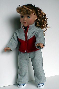 Warm-up Suit for 18 inch doll. $29.00, via Etsy.