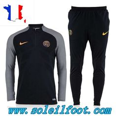 Thailande Survetement Foot Ligue 1 Paris St Germain Noir/Gris 2016-17 Homme Kits Moins Cher Football Tracksuits, Jogging Nike, St Germain Paris, Saint Germain, Kids Football Kits, Nike Clothes Mens, Tracksuit Set, Psg, Nike Outfits