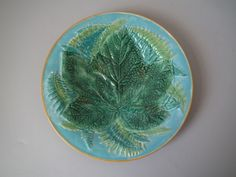 George Jones Majolica maple leaf and fern plate