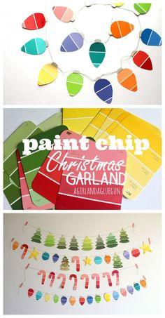 paint chip Christmas garland--great kids craft