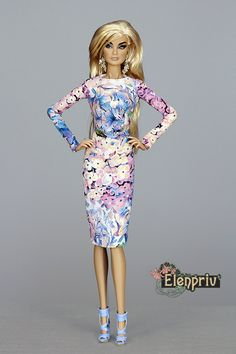 """ELENPRIV hydrangea printed dress for Fashion royalty FR2 and other 12"""" and 16"""" dolls (Select size, please) by elenpriv on Etsy"""