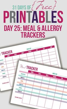 Meal & Allergy Tracker Free Printable