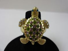 Crystal and Enamel Gold Tone Turtle Ring - Starting Bid: $10.00 (Outbid #TurtlePower)
