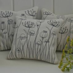 Herb Cushion - Embroidered Flowers and Seedheads