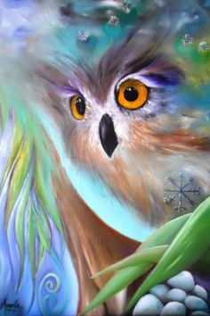 ♥ Beautiful! Owl Painting by Angela Federspiel                                                                                                                                                                                 Más