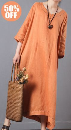 50%OFF&Free shipping. Pure Color V-Neck Pocket Baggy Cotton Maxi Dress. Color: Burgundy, Off-White, Orange. Shop this look right now~
