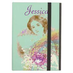 Vintage Fan Lady iPad Air Case by #MoonDreamsMusic #iPadAirCase #VintageLady #SageGreen