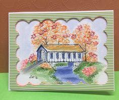 Art Impressions Stamps, Watercolor Cards, Art Journaling, Watercolors, Bridge, Coloring, Scrapbook, Colour, Painting