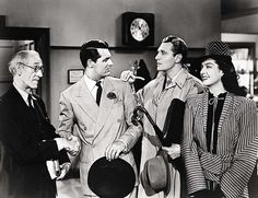 Still of Cary Grant, Ralph Bellamy and Rosalind Russell in His Girl Friday