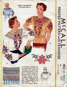 1930s Smocked Peasant Blouse Vintage Sewing by BessieAndMaive, $38.00