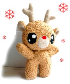 The Reindeer is made of light brown - teddy-plush( 100% organic - cotton). Its eyes are made of felt.(it,s filled with 100% Polyfill), washable by 30°C.  25cm Tall (9,8 Inches)  This doll and all the other Fluses are unique and handmade with love.