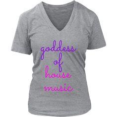 Ladies Goddess Of House Music V-neck T-shirt