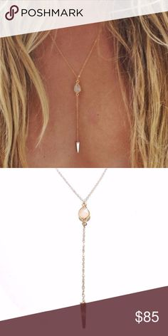 "Free People 14k Gold Spike Necklace Brand new 14k gold fill spike necklace from Free People Marida Collection. The chain is about 20"" and the drop with spike is about 2"". The stone is a moonstone. Really beautiful! Free People Jewelry Necklaces"