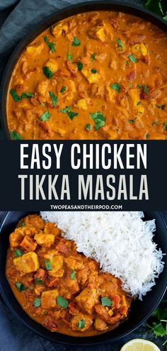 Easy Chicken Tikka Masala - Two Peas & Their Pod - Chicken In A Creamy Tomato Curry Sauce Is The Perfect Meal For Any Night! Make Your Favorite Indian - Easy Chicken Tikka Masala, Pollo Tikka Masala, Chicken Tika Masala Recipe, Chicken Curry Recipes, Creamy Chicken Curry, Tomato Curry, Easy Indian Recipes, Indian Recipes For Dinner, Crockpot Indian Recipes