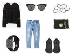 """TT"" by lucyville ❤ liked on Polyvore featuring Zara, MANGO, Versace and Ray-Ban"