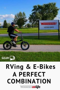 What makes Rving and E-bikes a perfect combination? Electric bikes are a great mode of transportation when you are living the full time rv lifestyle. No matter your destination an e-bike can make exploring your current campground, running errands in a nearby town much more enjoyable. Whether you are in a van, motorhome, or trailer these bikes are a convenient option to get off the beaten path, and easy to store for traveling. Find one that is right for you!  #WinnebagoLife #ElectricBikes… Travel Trailer Accessories, Rv Accessories, Gear S, Rv Travel, Rv Life, Rv Living, Motorhome, Exploring, Transportation