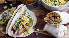 Top these easy summertime enchilada pork tacos or burritos—your choice—with a sweet summer corn slaw.