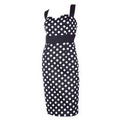Thelma Polka Dot Wiggle Party Dress in Black/White