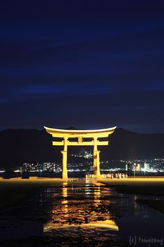 Night in Torii Gate, Itsukushima Shrine, Miyajima, Hiroshima, Japan