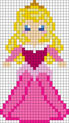 Sleeping Beauty Aurora Perler Bead Pattern | Bead Sprites | Characters Fuse Bead Patterns