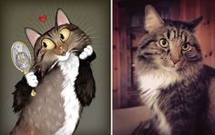 I Draw Pet Portraits Inspired By How Their Owners Describe Them | Bored Panda | King, the most flamboyant of all cats
