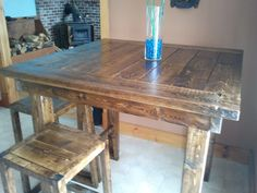 Pub style table | Do It Yourself Home Projects  I'm going to try this table with reused wood for my deck