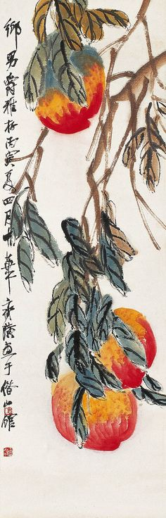 Qi Baishi, peaches #sumie #brushpainting #Ink and Wash Painting #Chinese Art #Japanese Art