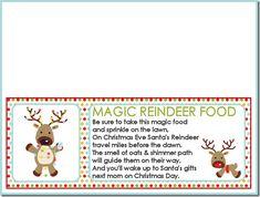 Magic Reindeer Food Labels and Recipe