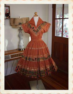 1950's Caramel Cotton 2 Piece Patio Dress
