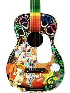 Custom handpainted guitar art  Design your guitar by laMarmotaCafe, $245.00