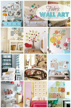 How to use fabric as wall art. This would work great for girl nursery wall