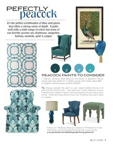 What to watch #HPMKT Spring 2015 - IBB at Home Winter 2014 #design #inspiration #magazine #style #trends #peacock #color #blue #WesleyHall #CenturyFurniture #HilaryThomas #art #paint #benjaminmoore #sherwinwilliams