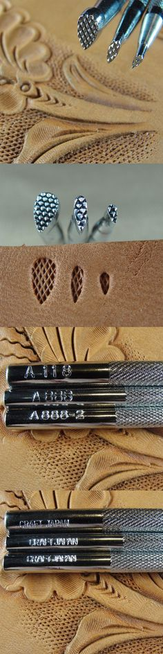 Craft Japan Checkered Background Stamps 4-Piece Set, Leather Stamping Tools