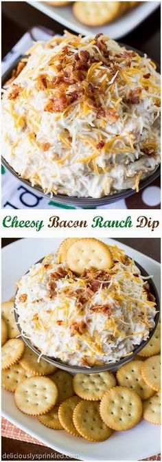 A recipe for Cheesy Bacon Ranch Dip. A perfect football party dip that everyone will love. A recipe for Cheesy Bacon Ranch Dip. A perfect football party dip that everyone will love. Dip Recipes, Snack Recipes, Cooking Recipes, Chef Recipes, Recipies, Yummy Appetizers, Appetizer Recipes, Party Appetizers, Bacon Ranch Dip