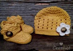 Back in August, I posted this cute crochet hat pattern for the boot and hat set I posted about here.  I of course made the mistake of only posting the hat in one size :) After having several requests