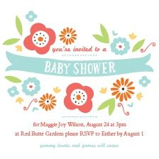 Playful Flower Baby Shower Invitation