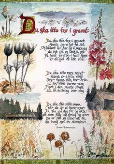 """Illustrasjon av Einar Skjæraasens dikt """"Du ska itte trø i graset"""". Mix Media, Sketchbooks, Art Journaling, Scandinavian Design, Poems, Paintings, Watercolor, Writing, Quotes"""