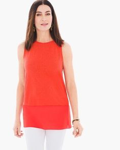 """This easy live-in layer is your closet's constant companion piece. In a subtle fabric-block design, it plays particularly well with summer sweaters, casual leggings and oh yeah, just about everything else.   Back keyhole neckline.  Regular length: 28"""".  Petite length: 26.5"""".  Linen, rayon.  Machine wash. Imported."""