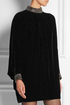 Saint Laurent | Beaded velvet mini dress | NET-A-PORTER.COM