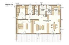 Fertighaus Bungalow Modo 117 - Grundriss Bungalows, Planer, Floor Plans, Hip Roof, Ground Floor, Small House Plans, Roof Styles, Bungalow, Floor Plan Drawing