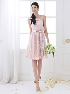 Knee-length Lace Bridesmaid Dress - Pearl Pink Plus Sizes / Petite A-line One Shoulder - USD $ 69.99