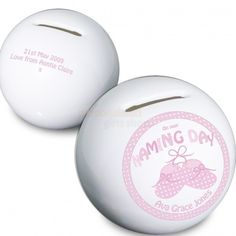 Personalised Bootee Naming Day Money Box - Pink or Blue  from Personalised Gifts Shop - ONLY £14.95