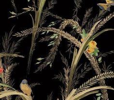 QT19324 Meadow Lark from Quintessential is a black wallpaper with long green wispy grasses and leaves, sprouting with flowers and inhabited by colorful little birds.