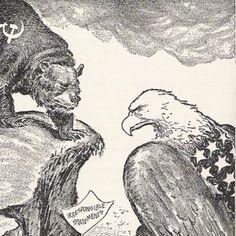 de beer en de vogel moeten de Sovjet Unie en de V.S voorstellen. Ze zitten allebij op een rots die tegen over elkaar staan en ze hebben strijd