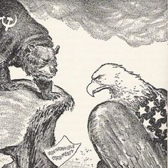 mood board - eagle v bear cartoon - the cold war