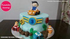 car theme 3 year old or birthday cake design ideas decorating tutorial for boy girl kids Cricket Birthday Cake, Easy Kids Birthday Cakes, Simple Birthday Cake Designs, Easy Cakes For Kids, Cake Designs For Boy, Cartoon Birthday Cake, Friends Birthday Cake, Animal Birthday Cakes, Fondant Cake Designs