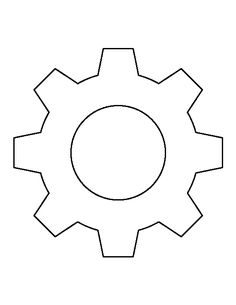Gear pattern. Use the printable outline for crafts, creating stencils, scrapbooking, and more. Free PDF template to download and print at http://patternuniverse.com/download/gear-pattern/